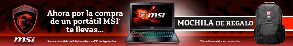 Mochila gratis con tu portátil MSI