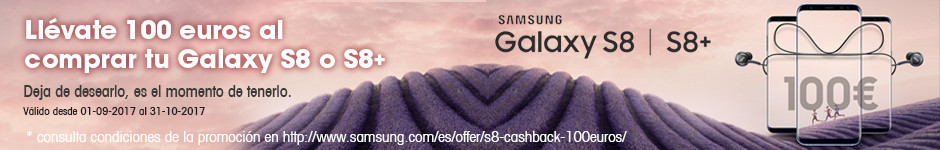Llévate 100 euros al comprar tu Galaxy S8 o S8+