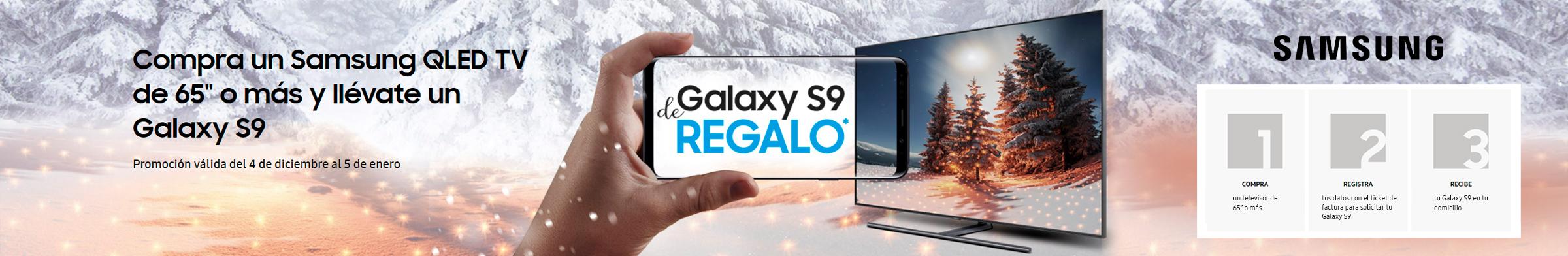 """Compra un Samsung QLED TV de 65"""" o más y llévate un Galaxy S9."""