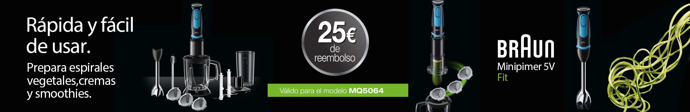 Te devolvemos 25 euros de tu Minipimer 5V FIT