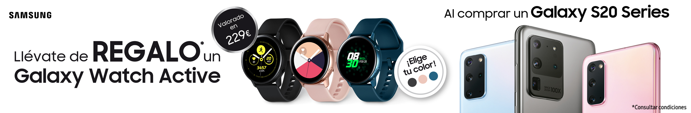 Llévate un Galaxy Watch Active de Regalo por la compra de un Galaxy S20 Series