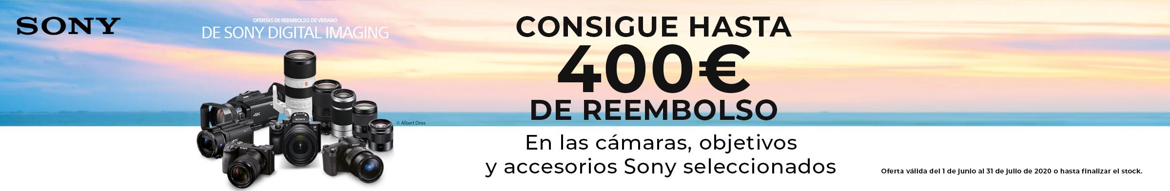 Consigue hasta 400€ de REEMBOLSO en cámaras, objetivos y accesorios SONY