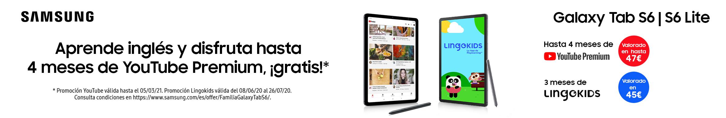 Aprende inglés y disfruta hasta 4 meses gratis de Youtube Premium con Galaxy Tab S6 / S6 lite