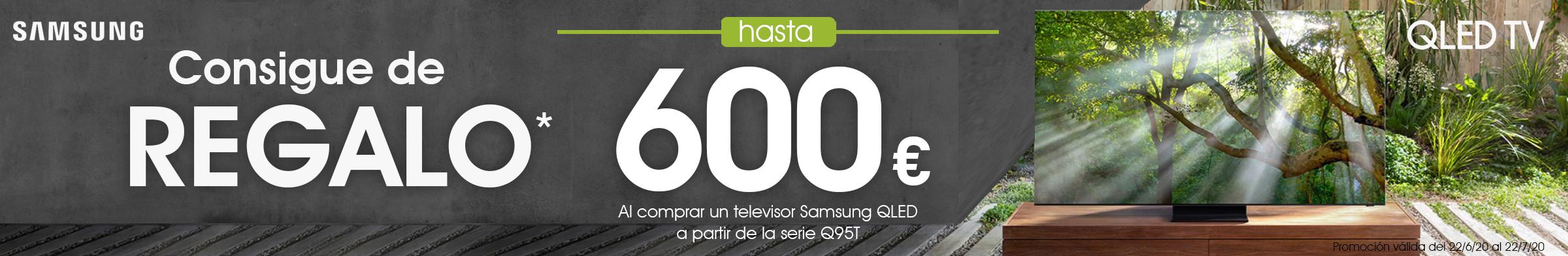 Ahora por la compre de un TV QLED SAMSUNG de la serie Q95T en adelante, regalaremos hasta 600€ de cashback.